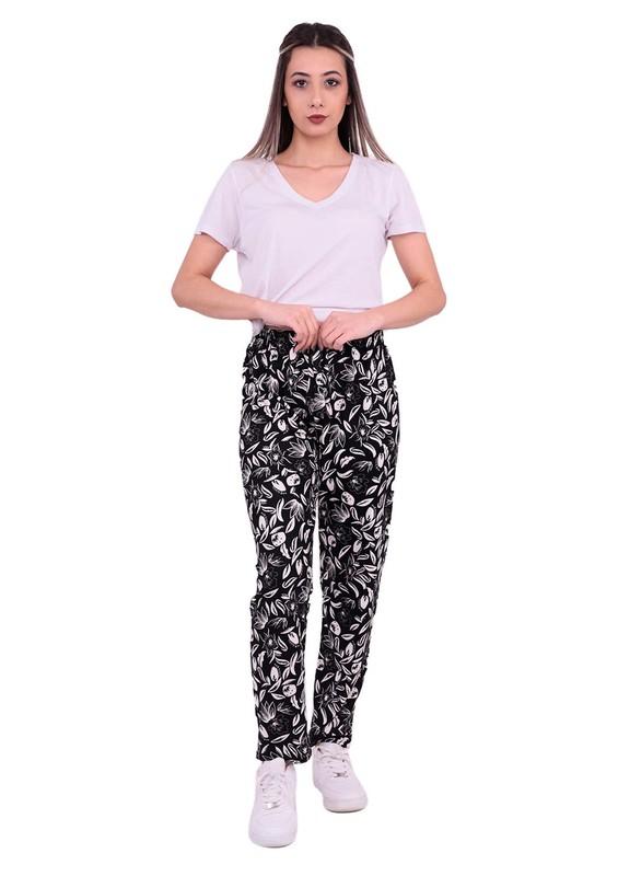 SİMİSSO - Beli Lastikli Boru Paçalı Desenli Süet Pantolon | Siyah
