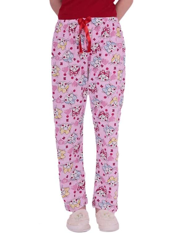 MODASEN - Beli Lastikli Çizgi Karakter Desenli Pijama Altı 228   Pembe