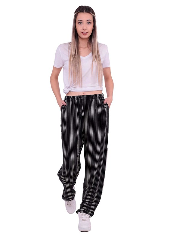 DOĞAN - Beli Lastikli Çizgili Pantolon | Siyah