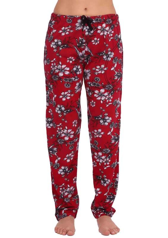 ARCAN - Beli Lastikli Dar Paçalı Çiçekli Pijama Altı 011 | Bordo