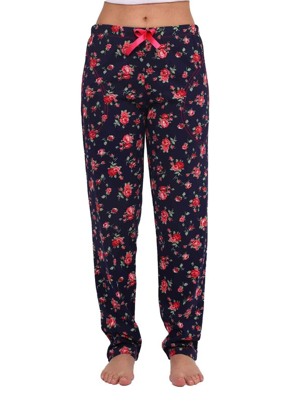 ARCAN - Beli Lastikli Dar Paçalı Gül Desenli Pijama Altı 024 | Lacivert