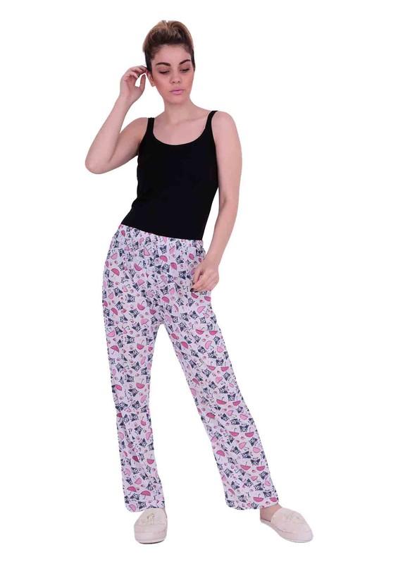ARSLAN - Beli Lastikli Desenli Büyük Beden Pijama Altı 212   Beyaz