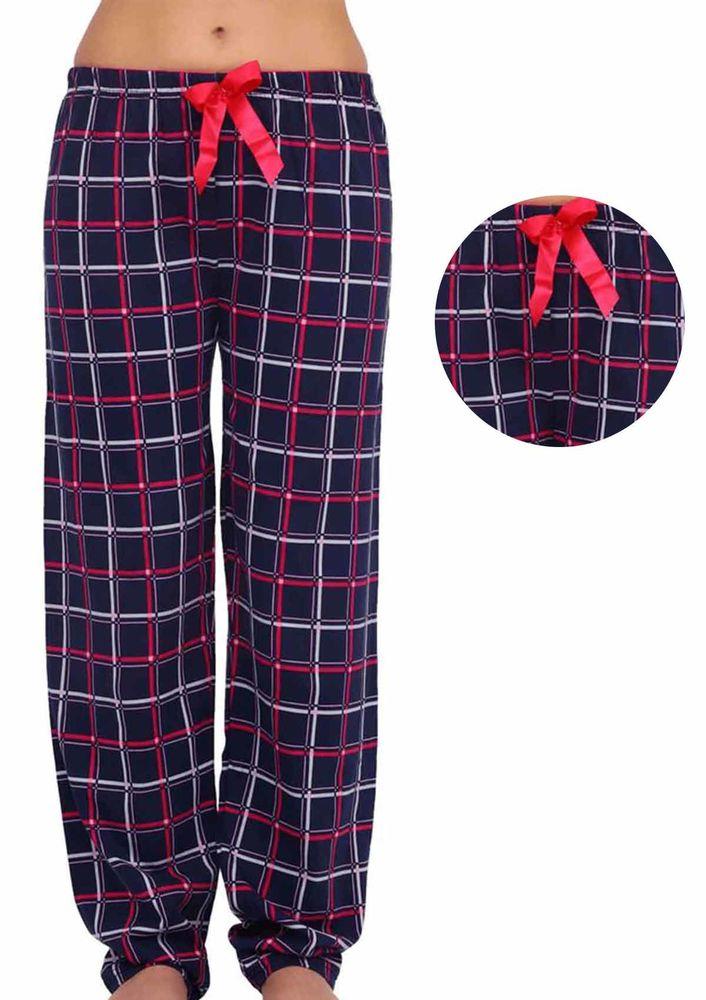 Beli Lastikli Kurdeleli Kareli Pijama Altı 090 | Lacivert Pembe