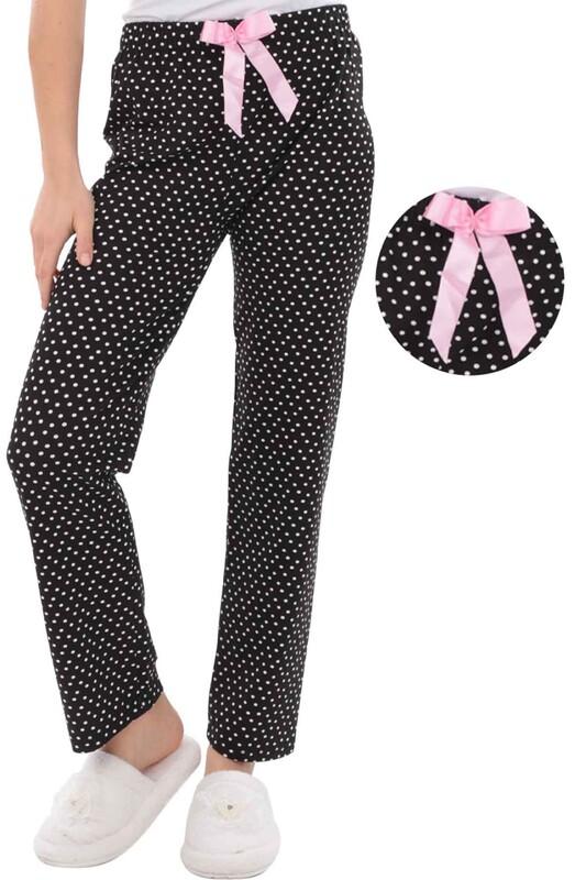 RİNDA - Benekli Kadın Pijama Altı 1416 | Siyah