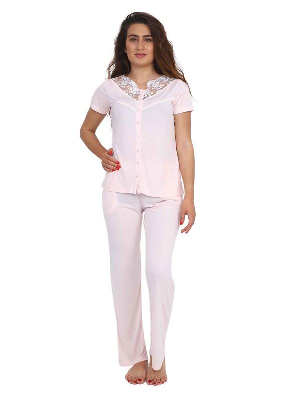 BERRAK - Berrak Güpür Yakalı Düğmeli Kısa Kollu Pijama Takımı 450 | Std