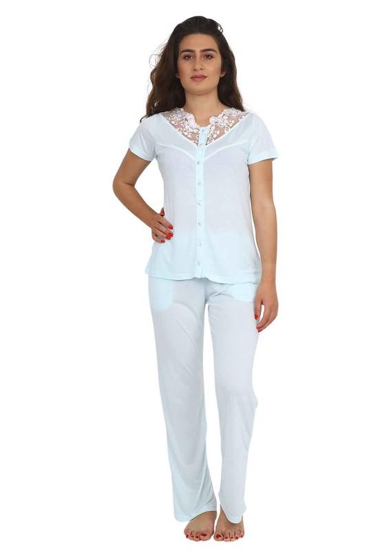 BERRAK - Berrak Güpür Yakalı Düğmeli Kısa Kollu Pijama Takımı 450 | Yeşil