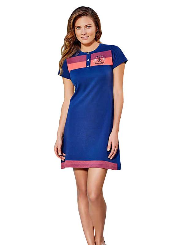 BERRAK - Berrak Yakası Düğmeli Kısa Kollu Desenli Elbise 457 | Lacivert