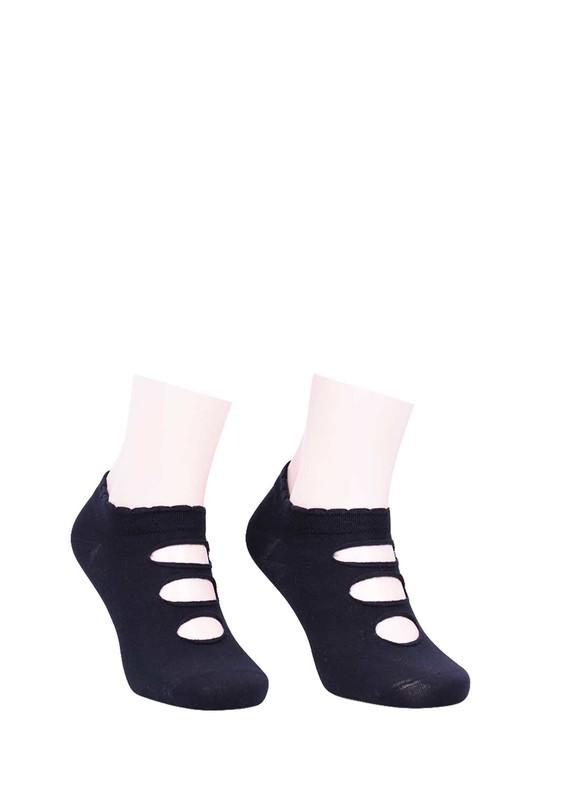 BERSO - Berso Üstü Delikli Babet Çorap 089 | Siyah