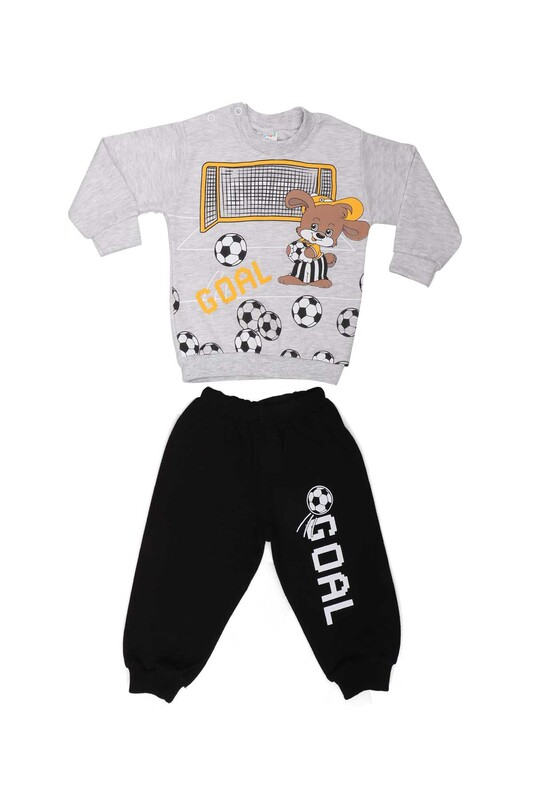 BİLKON - Bilkon Baby Tavşan Baskılı Bebek Takımı 2891 | Gri