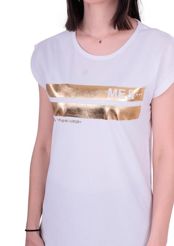 EMOLA - Bisiklet Yakalı Desenli T-shirt 100 | Beyaz