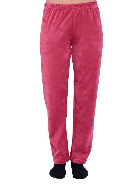 SİMİSSO - Bol Paçalı Beli Lastikli Kadife Pijama Altı 036   Mürdüm