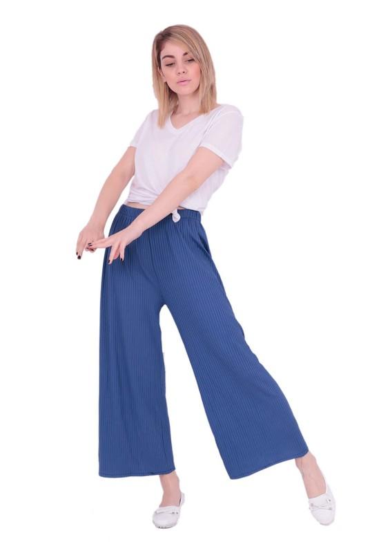 SZC - Bol Paçalı Beli Lastikli Pantolon 477 | Mavi