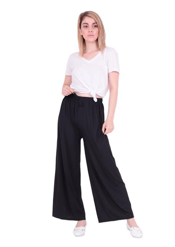 SZC - Bol Paçalı Beli Lastikli Pantolon 477 | Siyah
