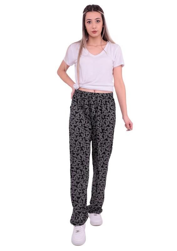 DOĞAN - Bol Paçalı Çiçek Desenli Kurdeleli Pantolon | Siyah
