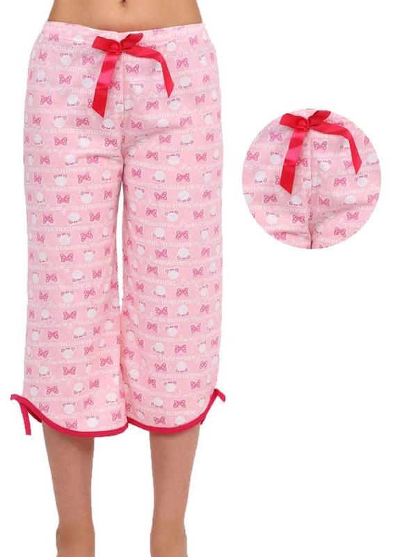 RİNDA - Bol Paçalı Desenli Kapri Pijama Altı 005 | Pembe