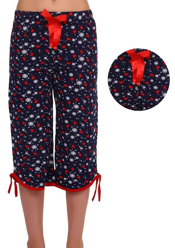 RİNDA - Bol Paçalı Kalpli Desenli Kapri Pijama Altı 003 | Lacivert