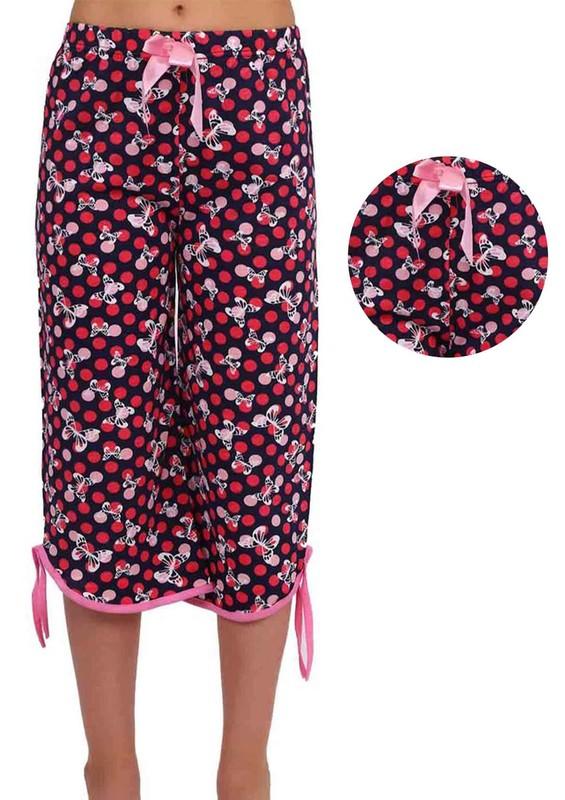 RİNDA - Bol Paçalı Puantiyeli Kelebekli Kapri Pijama Altı 006 | Pembe