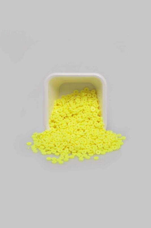 SİMİSSO - Yuvarlak Hamur Fimo Boncuk 4 mm | Neon Sarı