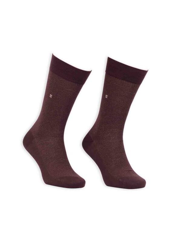 Bordo - Bordo Bambu Dikişsiz Erkek Çorap EBK1005 | Kahverengi