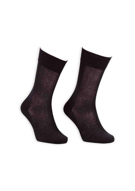 Bordo - Bordo Cotton Dikişsiz Erkek Çorap SM31007-01 | Siyah