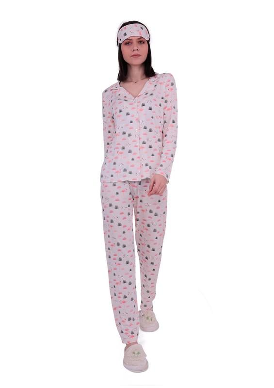 CALİMERA - Boru Paçalı Düğmeli Desenli Pijama Takımı 2064 | Krem