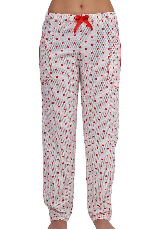 ARCAN - Boru Paçalı Puantiyeli Pijama Altı Renk Seçenekleri İle 034   Kırmızı