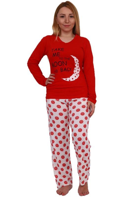 FAWN - Boru Paçalı Puantyeli Pijama Takımı 10029 | Kırmızı
