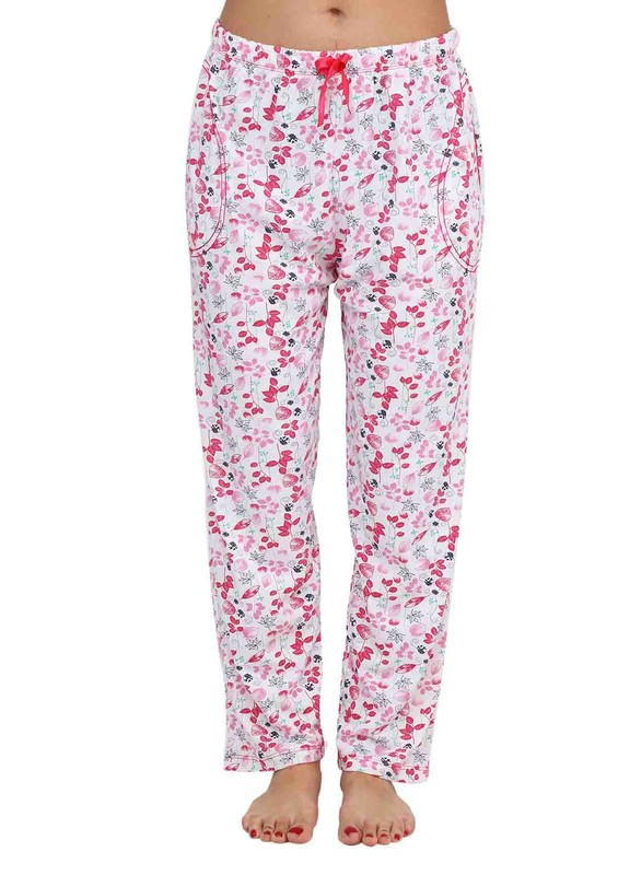 ARCAN - Boru Paçalı Yaprak Desenli Pijama Altı 030   Pembe