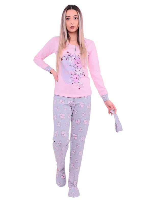 BOYRAZ - Boyraz Çiçek Desenli Uzun Kollu Pijama Takımı 4′lü 11148 | Pembe