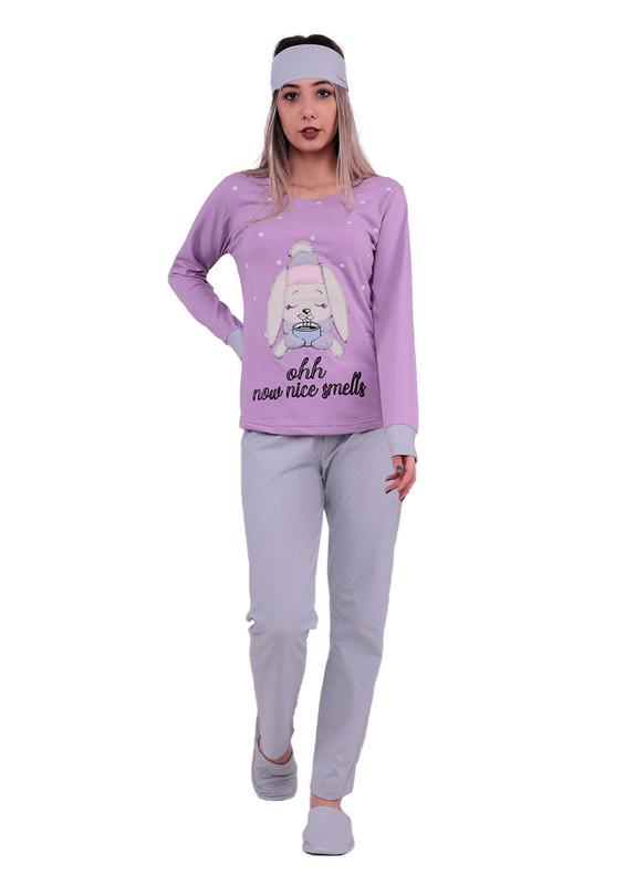 BOYRAZ - Boyraz Tavşanlı Pijama Takımı 4′lü 11150 | Lila