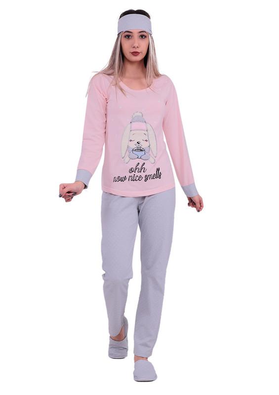 BOYRAZ - Boyraz Tavşanlı Pijama Takımı 4′lü 11150 | Pudra
