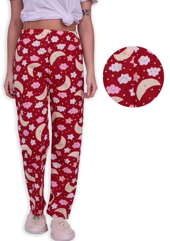 SİMİSSO - Bulut Baskılı Kadın Pijama Altı | Kırmızı