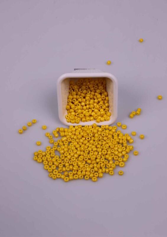 SİMİSSO - Büyük Cam Boncuk 50 Gram 5 mm | Sarı