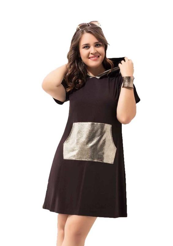 BYDON - ByDon Kısa Kollu Kapüşonlu Büyük Beden Elbise 9008   Kahverengi