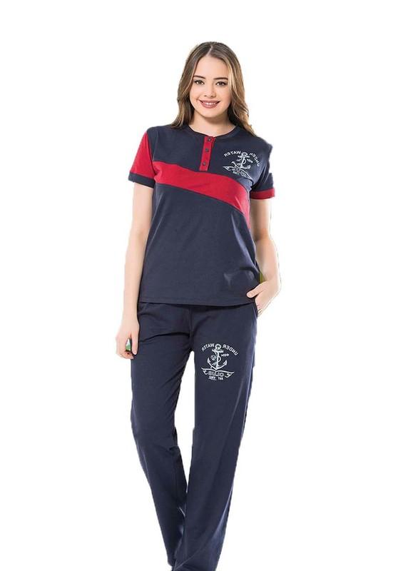 BYDON - ByDon Yakası Düğmeli Desenli Pijama Takımı 9235 | Lacivert