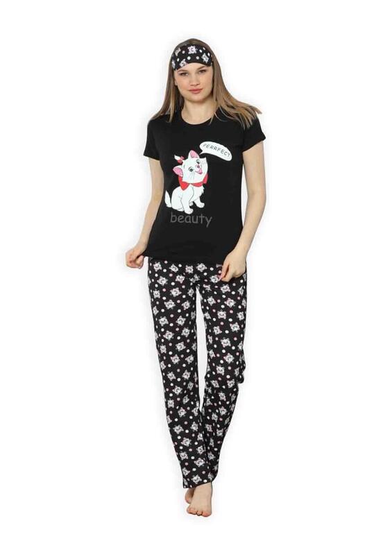 CALİMERA - Calimera Kedicik Baskılı Kısa Kollu Kadın Pijama Takımı 2358 | Beyaz