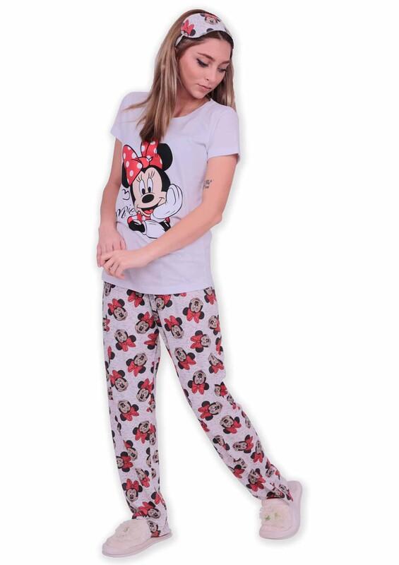 CALİMERA - Calimera Kısa Kollu Uyku Bantlı Kadın Pijama Takımı 2647 | Beyaz