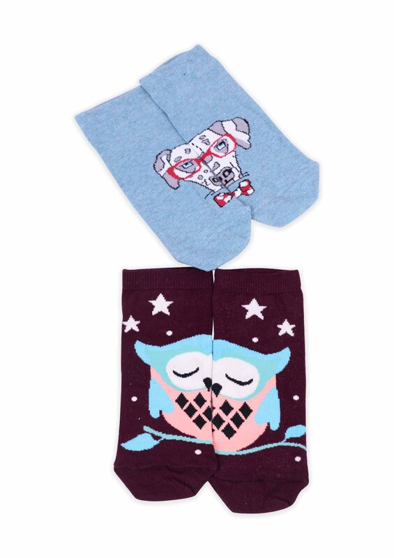 CALZE VİTA - Calze Vita Desenli 2'li Kadın Çorap | Mavi Mor