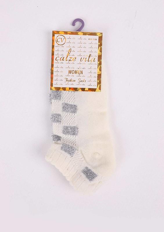 CALZE VİTA - Calze Vita Desenli Siyah Çorap 343   Krem