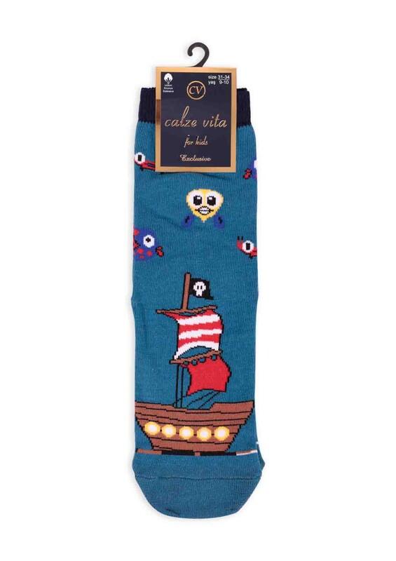 CALZE VİTA - Calze Vita Gemi Desenli Erkek Çocuk Çorap | İndigo