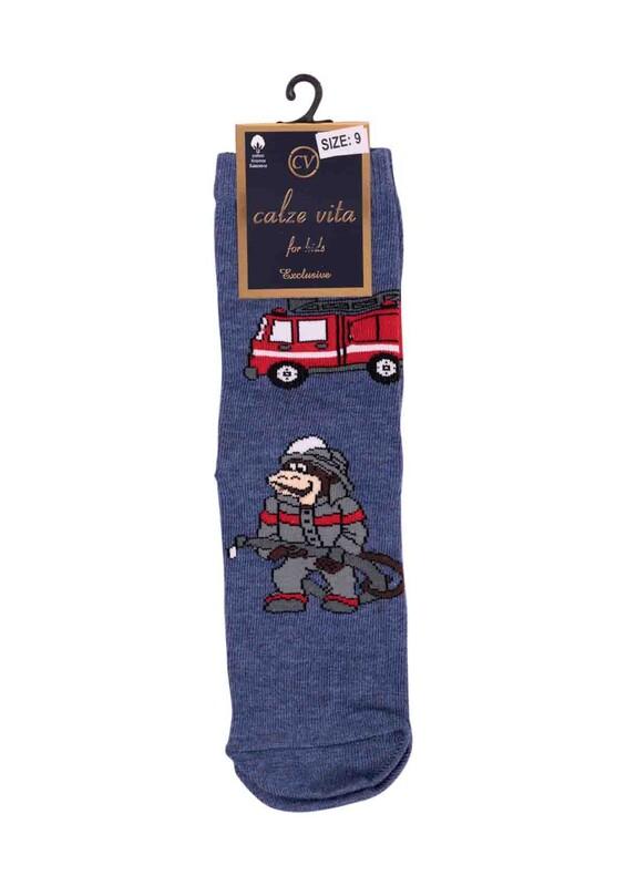 CALZE VİTA - Calze Vita İtfaiyeci Desenli Erkek Çocuk Çorap | Mavi