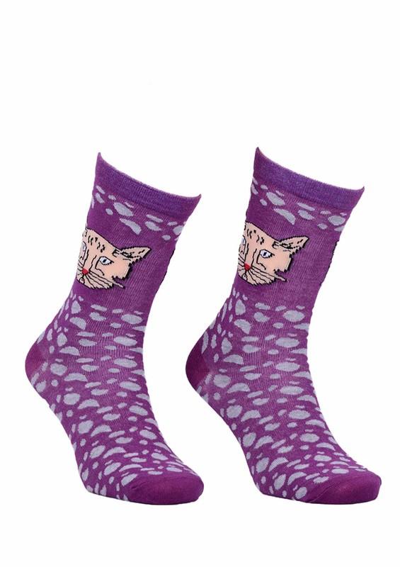 CALZE VİTA - Calze Vita Kedili Desenli Çorap 342 | Mor
