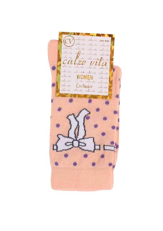CALZE VİTA - Calze Vita Puantiyeli Kurdele Desenli Çorap 345 | Pudra