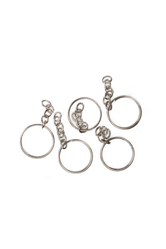 MİR PLASTİK - Zincirli Anahtarlık 5 cm 5'li | Gümüş