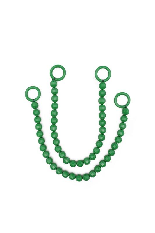 SİMİSSO - İpli Boncuklu Kristal Çanta Sapı   Koyu Yeşil