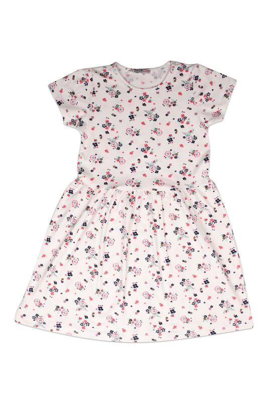 PAPİ KİDS - Çiçek Baskılı Kız Çocuk Elbise 002 | Fuşya