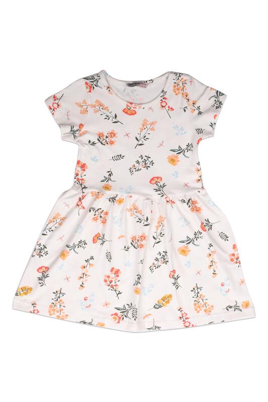 PAPİ KİDS - Çiçek Baskılı Kız Çocuk Elbise 002 | Turuncu