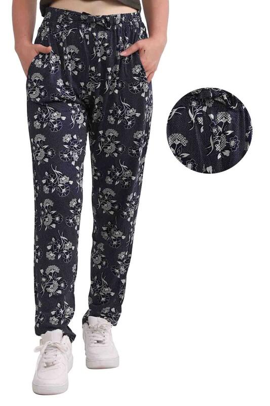 ZFR - Çiçek Baskılı Viskon Boru Paça Pantolon   Lacivert
