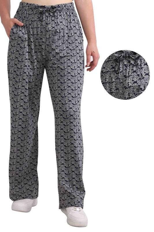 ZFR - Çiçek Baskılı Viskon Geniş Paça Pantolon   Lacivert