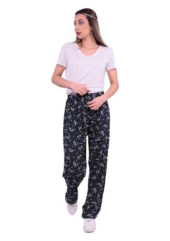 STAR CITY - Çiçek Desenli Bol Paça Büyük Beden Pantolon | Lacivert